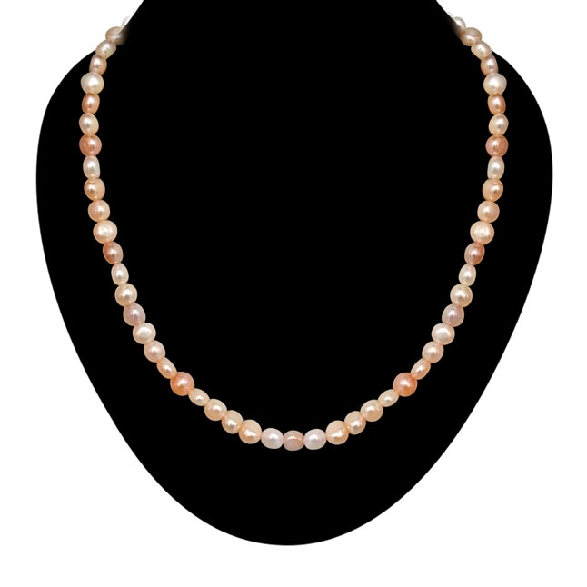 Peach -Pink -Purple Button Pearl Necklace -Single Line