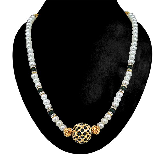 Simply Green -Green Kundan Ball, Shell Pearls & Green Beads Necklace. -Necklace