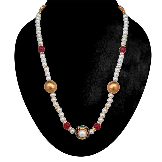 Exotic -Kundan Ball, Shell Pearls & Red Coloured Stone Necklace. -Necklace