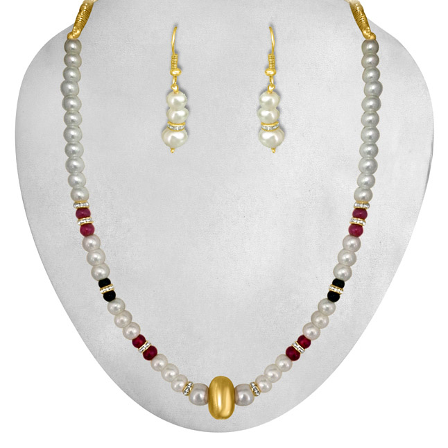 Traditionally designed Shell Pearl & Coloured Stone Set.