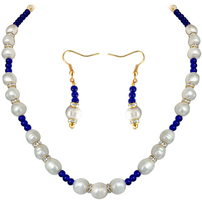 Blue Star -Real Pearl & Colored stone Set -Single Line