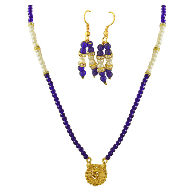 Gold Plated Pendants, Shell Pearl & Blue Stone Necklace & Earrings Set