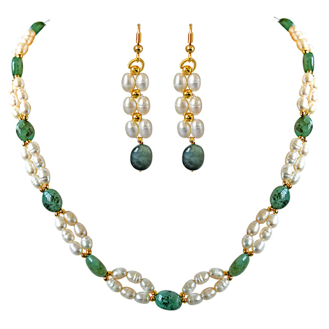 Real Natural Oval Emerald, Rice Pearl & Gold Plated Beads Necklace & Earring Set for Women (SN681)