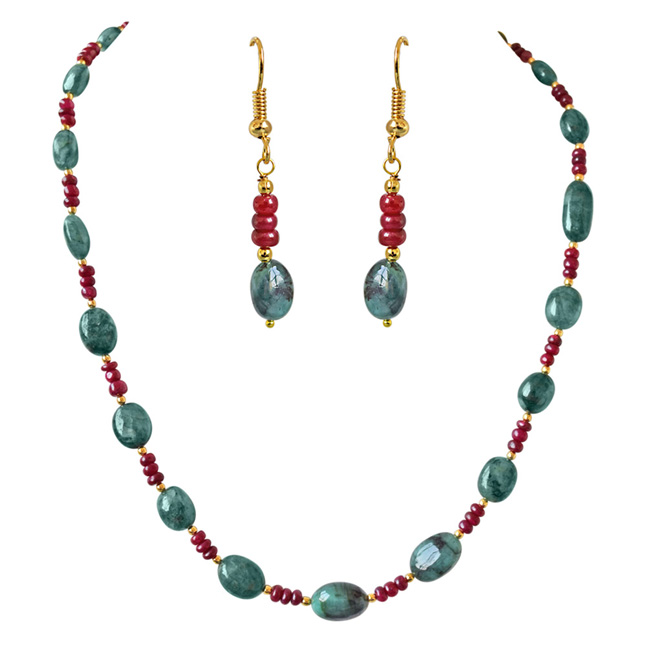 Single Line Real Oval Green Emeralds & Red Ruby Beads Necklace & Earring Set for Women (SN685)