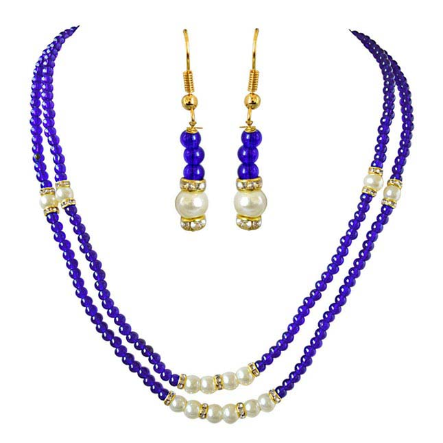 2 Line Blue Stone & White Shell Pearl Necklace & Earrings Set