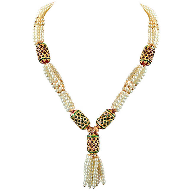 Red & Green Cylinder Shaped Kundan Ball & White Shell Pearl Multi -str Necklace -Colour Stones