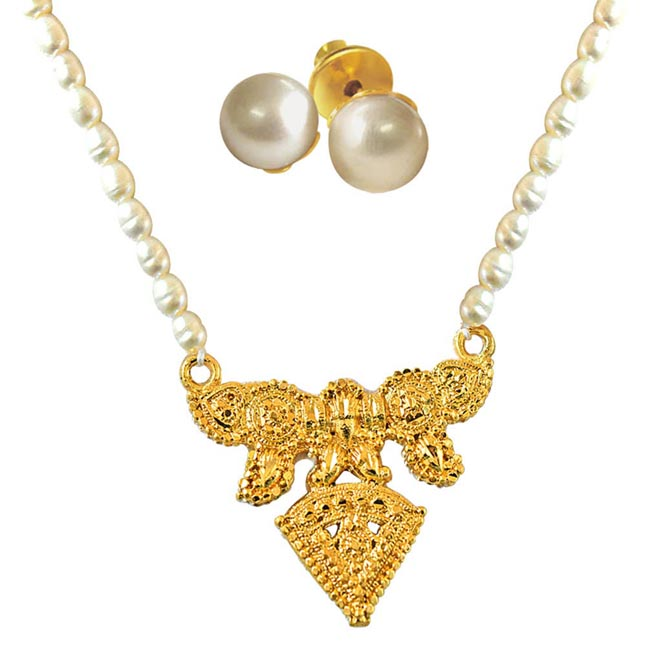 Traditional Gold Plated Pendants & Real Rice Pearl Single Line Necklace with Pearl Studs -Pearl Set