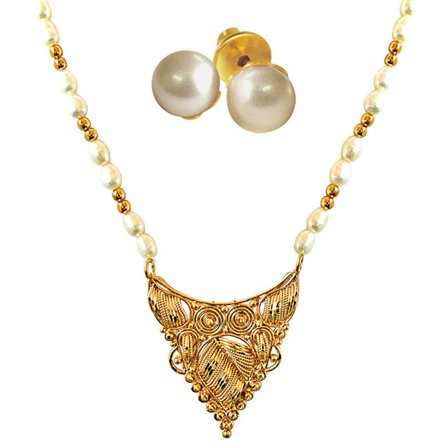 Traditionally Designed Gold Plated Pendants, Real Rice Pearl & Gold Plated Beads Necklace with Pearl Studs -Pearl Set