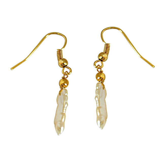 Real Natural Pearl Gold Plated Hanging Earrings