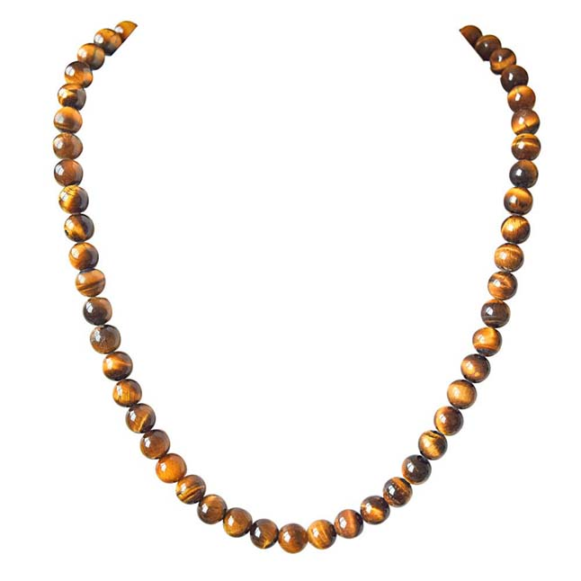 "Single Line Real Brown Tiger Eye 18"" Necklace -Single Line"