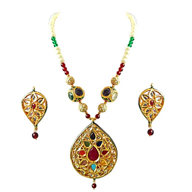 Drop Shaped Big Gold Plated Motif, Shell Pearl & Coloured Stone Necklace Set