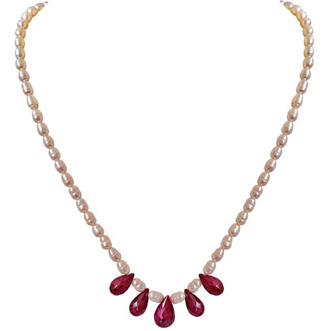 5 Faceted Drop Real Red Ruby & Rice Pearl Necklace -Ruby+Pearl