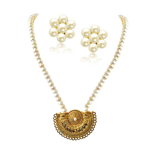 Gateway of Women's Heart Gold Plated Pendants & Single Line Real Pearl Necklace -Pearl Set
