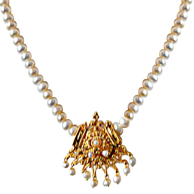 Aparna gold plated pendants single line real pearl necklaces aparna gold plated pendant single line real pearl necklace aloadofball Image collections