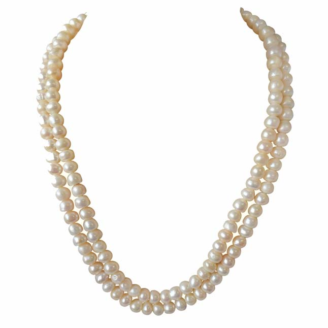 2 Line Real Big Freshwater Pearl Necklace -2 To 3 Line Necklace