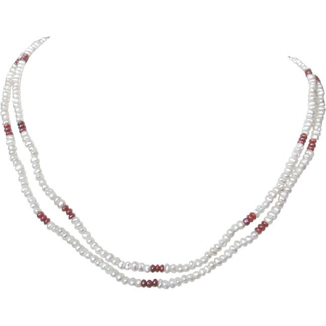 Embellishment - 2 Line Freshwater Pearl & Real Ruby Beads Necklace for Women (SN77)