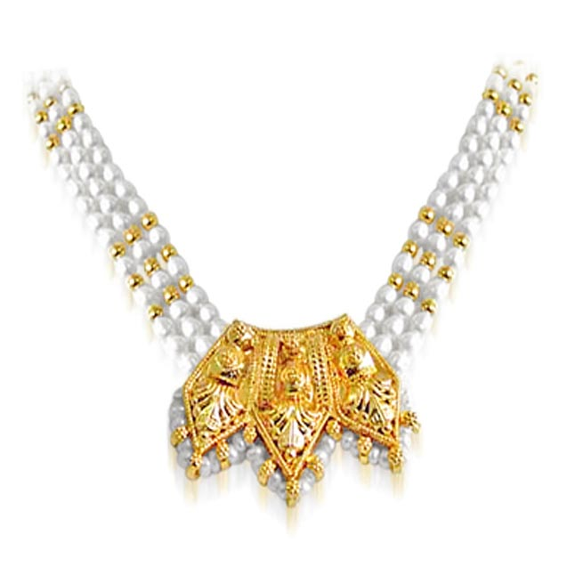 Allure - Gold Plated Temple Design Pendant & 3 Line Rice Pearl Pendant Necklace for Women (SNP11)