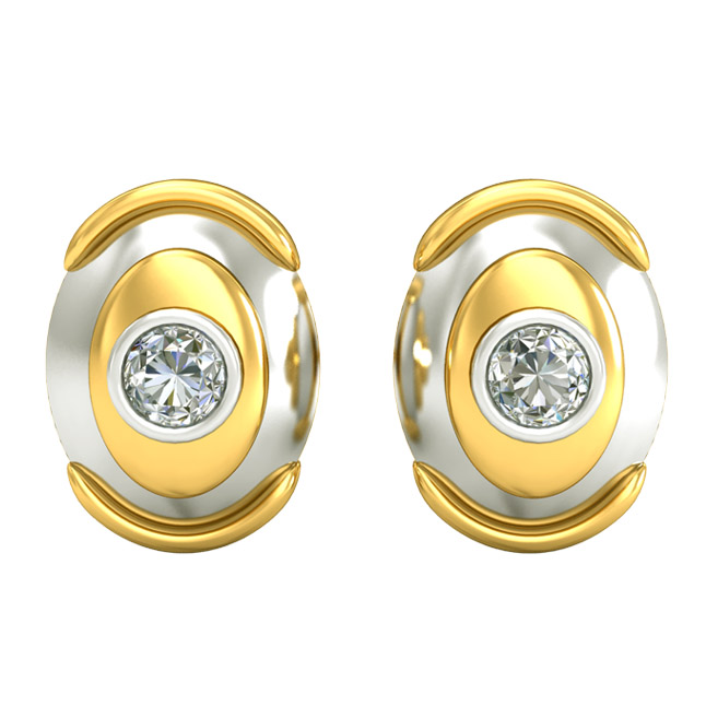 0.30ct Diamond Solitaire Two Tone Earrings ER289 -0.30 cts -Solitaire Earrings