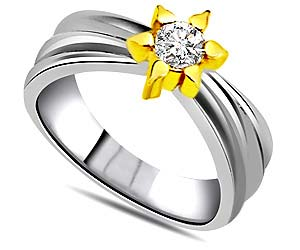 Solitaire Flower Two Tone Diamond rings