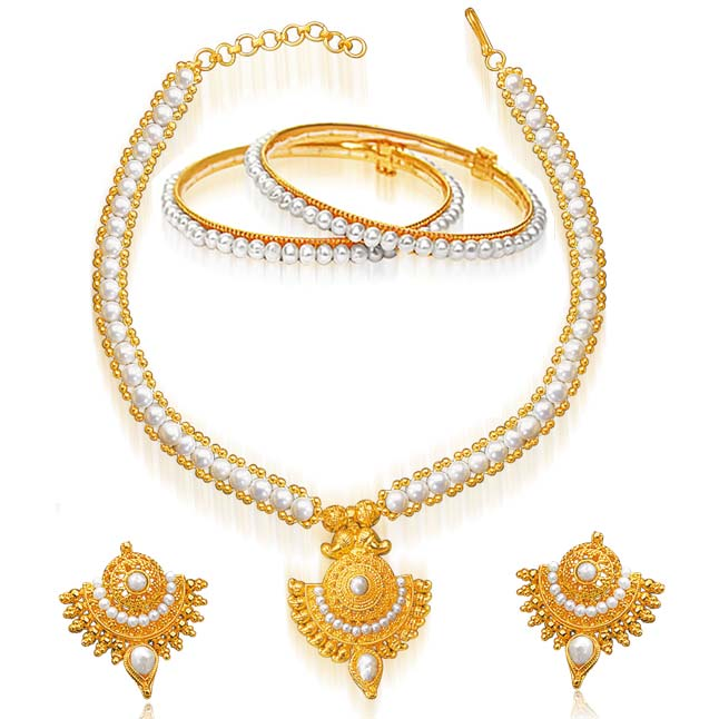 24kt Gold Plated Pendants & REAL Pearl Set -Pearl Set