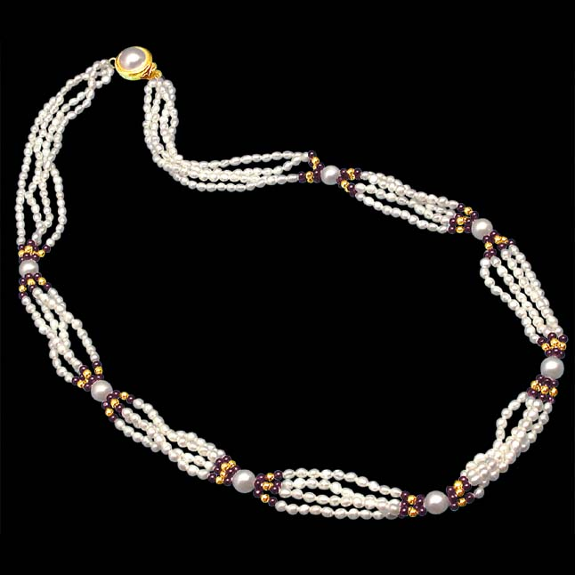Indulgence - 4 Line Real Pearl & Black Onyx Beads Necklace (SP251)