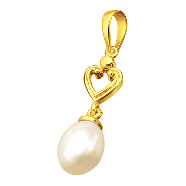 Simplicity - Drop Shaped Real Pearl & Gold Plated Silver Pendant for Girls (SP383P)