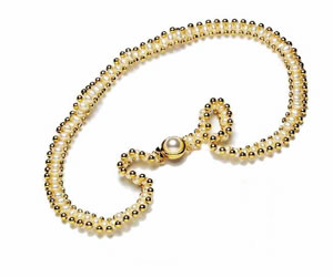 Enchanting Elegance Pearls - Real Freshwater Pearl & Gold Plated Beads Necklace, Bracelet & Earring Set for Women (SP96)