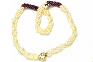 Enthralling Beauty - 3 Line Twisted Real Rice Pearl & Red Garnet Beads Necklace, Earring & Bracelet Set for Women (SP98)