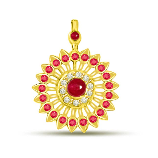 Sparkling Chakra Ruby Pendants In Yellow Gold With Diamonds -Diamond -Ruby