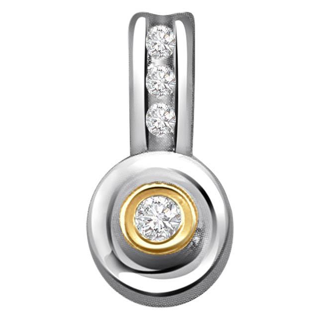Sparkling Drop 0.16 ct Diamond Two Tone Pendants