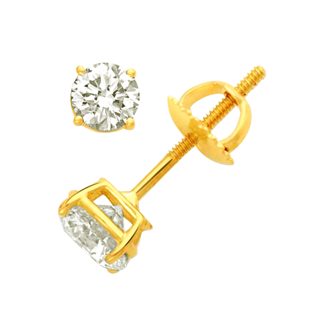 Sparkling Diamond Studs -Solitaire Earrings