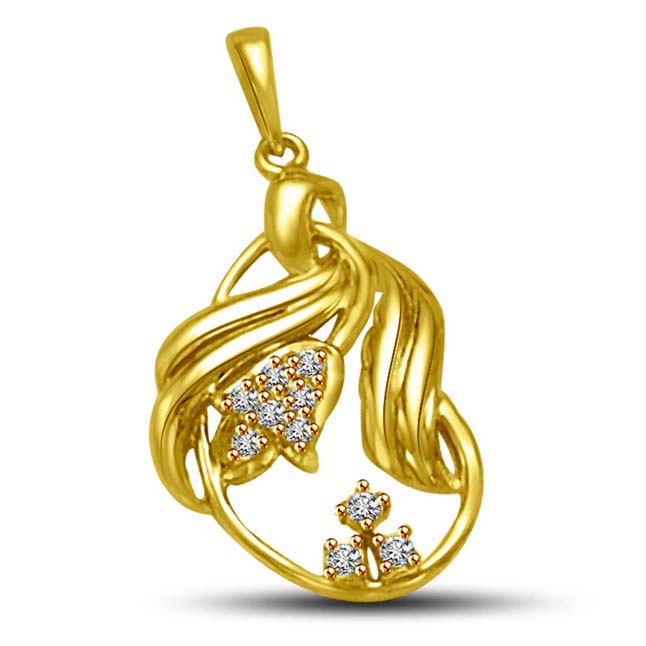 Sparkling Golden Twist 0.06CT Diamond &18KT Gold Leaf Pendants for My Love -Designer Pendants