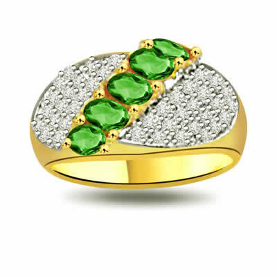 Sparkling Nature 0.40ct Diamond & Emerald Gold rings SDR1089 -Diamond & Emerald