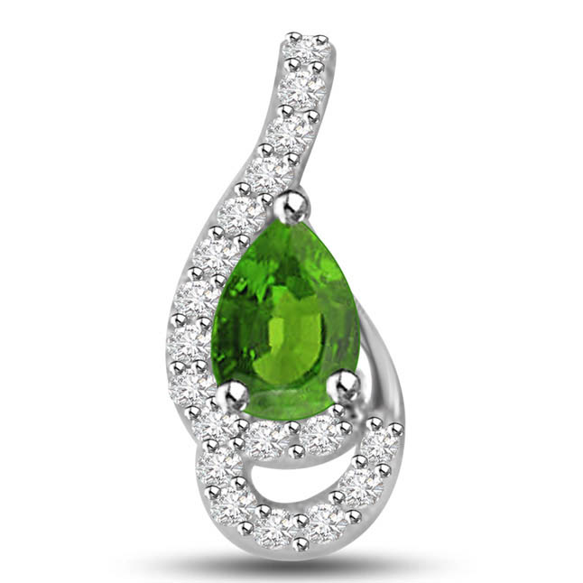 Sparkling Peas 0.50 TCW Emerald Diamond Pendants In White Gold