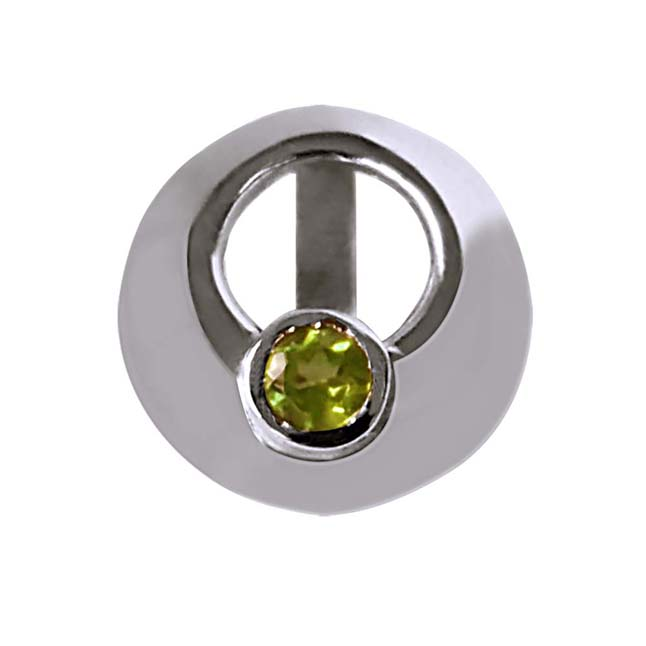"""Sparkling Circle -Green Peridot 925 Sterling Silver Pendants with 18"""" Chain"""