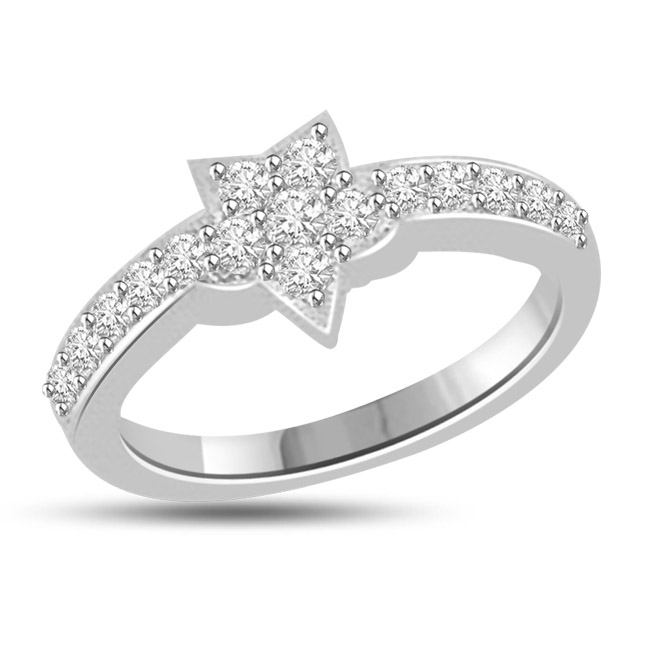 Sparkling Silver Star 0.48cts Diamond white Gold rings SDR1150 -Designer