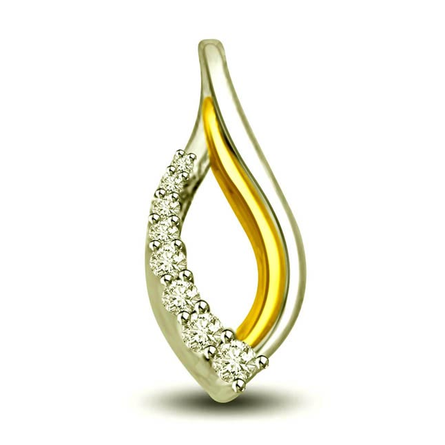 Sparkling Start Two Tone 0.16ct Diamond Elegant Pendants In 18kt Gold