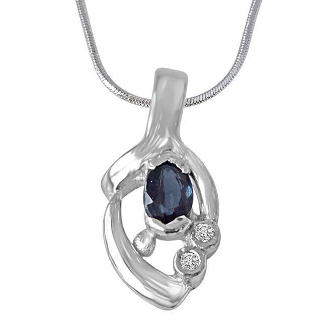 "Sparks of Passion Sterling Silver Real Blue Oval Sapphire Pendants with 18"" Chain"