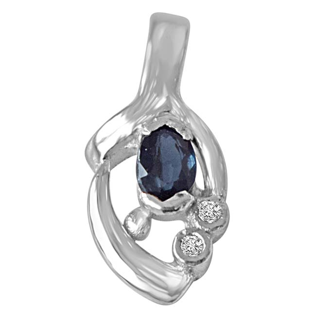 Sparks of Passion - Sterling Silver Real Blue Oval Sapphire Pendant with 18 IN Chain