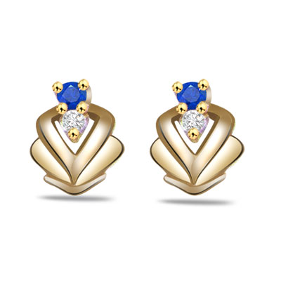 Sparlking Entice 0.06ct Fine Sapphire & Diamond Earrings -Dia & Gemstone