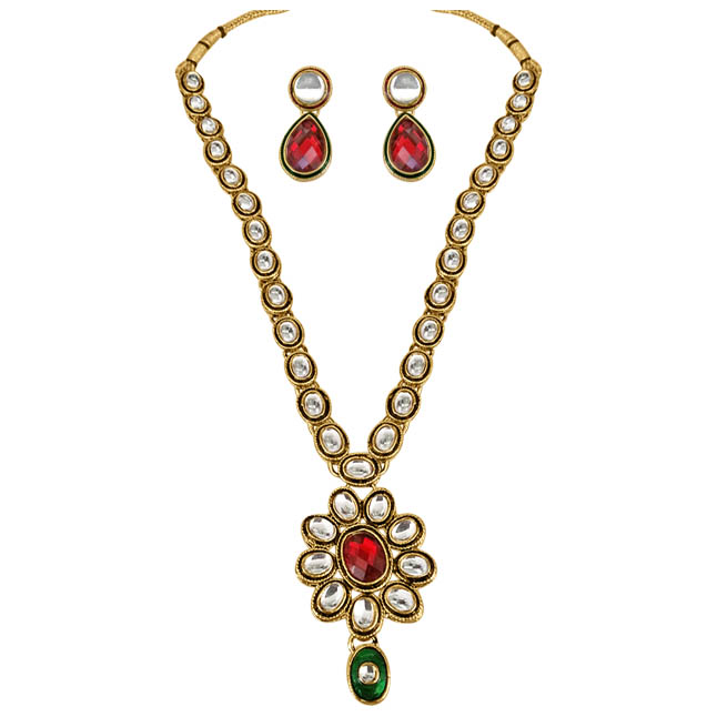 Spellbinding Red & Green Polki Jewellery Set