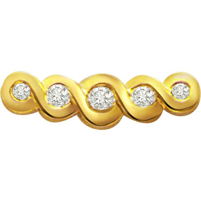 Spiral Golden Beauty 0.14 ct Diamond Pendants -Designer Pendants