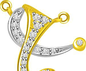 Spiral Of Life Two Tone Diamond & Gold Pendants -Designer Pendants