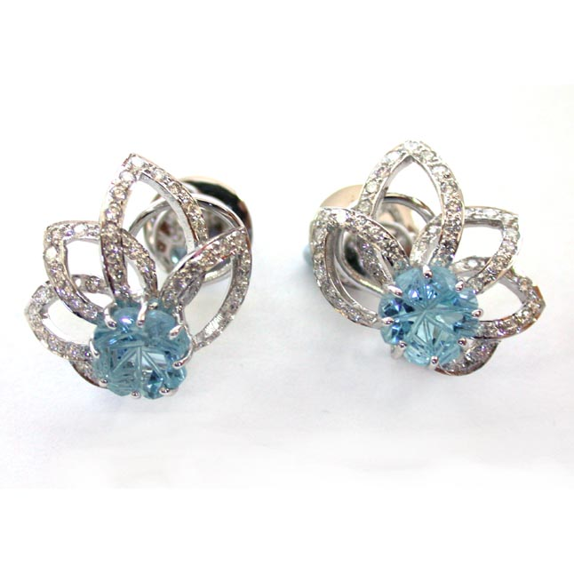Splashes Of Joy -Blue Topaz Diamond Earrings -Designer Earrings