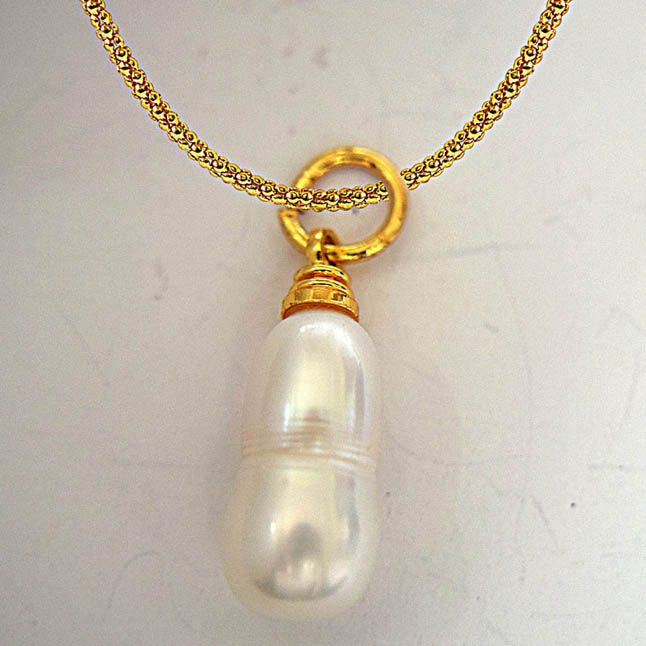 6.50ct Real Natural Freshwater Pearl Pendants with Gold Plated Chain