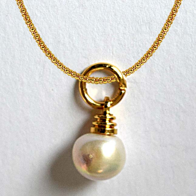 3.25ct Real Natural Freshwater Pearl Pendants with Gold Plated Chain
