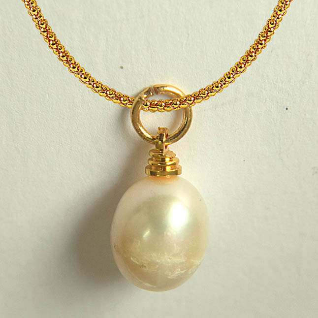 10.50ct Real Natural Oval Freshwater Pearl Pendants with Gold Plated Chain