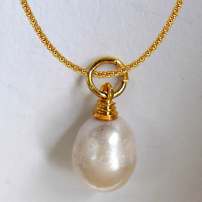 12.00ct Real Natural Oval Freshwater Pearl Pendants with Gold Plated Chain