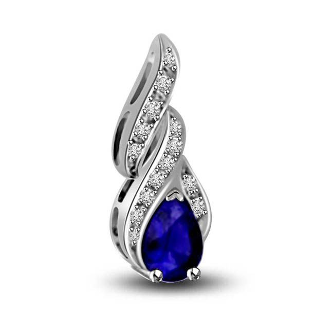 Springs Love Pear Shape Blue Sapphire & Diamond White Gold Pendants For Your Love