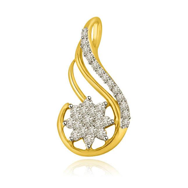 Star & Stripes Two Tone 18k Gold & Diamond Pendants -Flower Shape Pendants